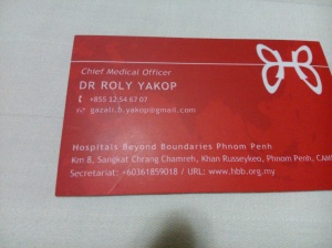 DR. ROLY YAKOP ADALAH CHEIF MEDICAL OFFICER DI HOSPITALS BEYOND BOUNDARIES PHNOM PENH.