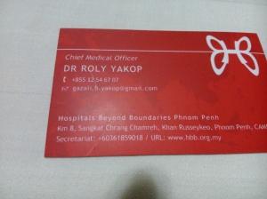 DR. ROLY YAKOP ADALAH CHEIF MEDICAL OFFICER DI HOSPITALS BEYOND BOUNDARIES PHNOM PENH.